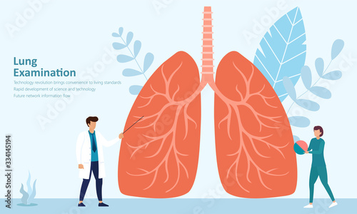 Doctor and nurse diagnosis treatment lung disease illustration,medical health ca Wallpaper Mural