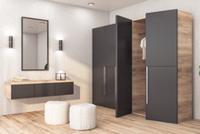 Modern Wardrobe With Clothes
