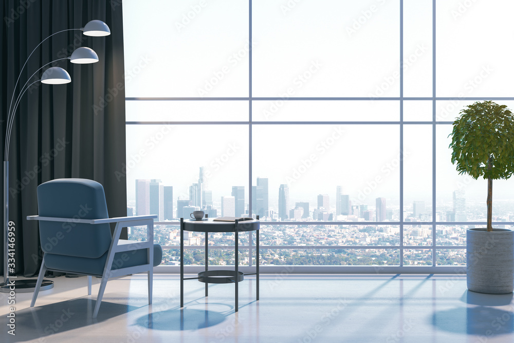 Fototapeta Modern living room with panoramic city view.