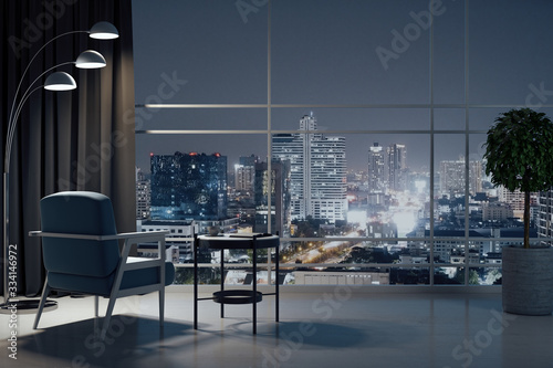Fototapeta Chair and decorative table in cozy living room obraz