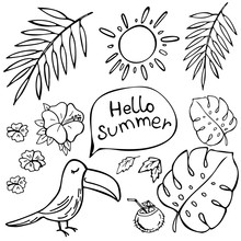 Hand Drawn Toucan Talking Hello Summer And Tropical Leaves Isolated On White. Vector Illustration. Perfect For Greeting Card, Postcard, Print, Coloring Book.