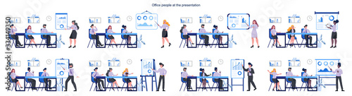 Fototapeta Business pepole making presentation in front of group of co-worker obraz