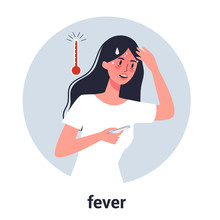 Woman In Fever With A High Temperature As A Symptom Of Flu, Cold.