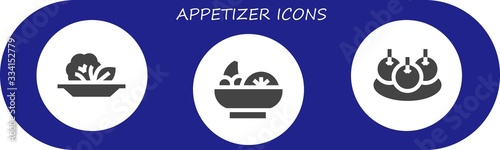 Photo appetizer icon set