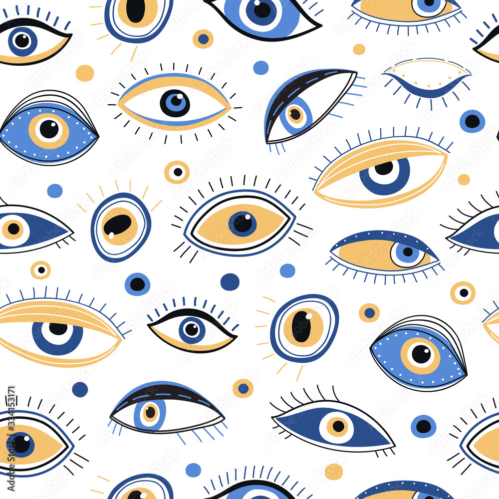 Fototapeta Eye pattern. Abstract evil eyes fabric print. Mystic eyelid with eyelash, energy talisman background. Mystical look vector seamless texture. Illustration eye background, evil energy mystical