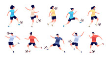 Football Players. Soccer Sportsman, People Playing With Ball. Athlete Goal And Kick, Isolated Sport Action And Workout Vector Illustration. Soccer Athlete, Sport Play Action, Player Playing