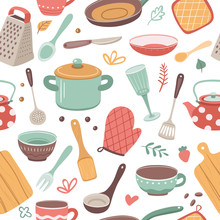 Kitchen Pattern. Utensil, Scandinavian Cooking Background. Kitchenware, Kettle Ceramic Crockery. Catering Textile Vector Seamless Texture. Culinary Ceramic Accessory Endless Repetition Illustration