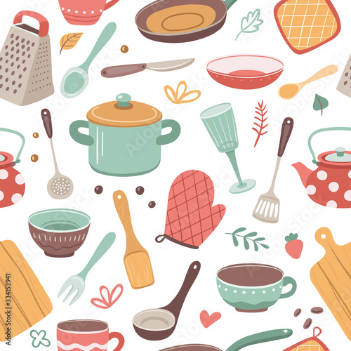 Tapeta do kuchni  kitchen-pattern-utensil-scandinavian-cooking-background-kitchenware-kettle-ceramic-crockery-catering-textile-vector-seamless-texture-culinary-ceramic-accessory-endless-repetition-illustration