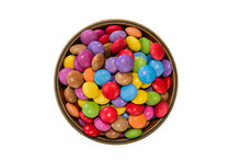 Colorful Candies In A Wooden Bowl Case Isolated On Wood Background