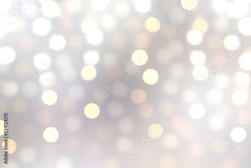 Fototapety, obrazy: Bokeh lights on silver blurry background. Shimmer garland abstract pattern. Winter holiday decorative illustration.