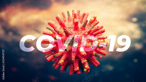 Coronavirus Visualisierung mit Schrift: Covid-19 Canvas Print