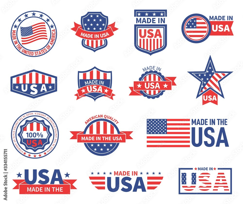 Fototapeta American labels. Made in usa seal badges design. Patriotic logo or stamp. Isolated tags with flag of america and star symbols vector set. American quality product, banner made in usa illustration