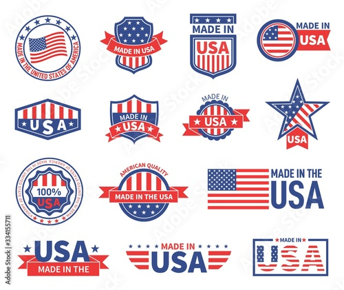 Obraz American labels. Made in usa seal badges design. Patriotic logo or stamp. Isolated tags with flag of america and star symbols vector set. American quality product, banner made in usa illustration - fototapety do salonu