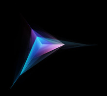 Abstract Glowing Purple Tetrahedron Isolated On Black Background