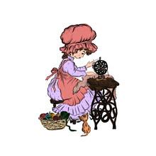 Little Seamstress Sews On Vintage Sewing Machine.