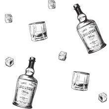 Whiskey Making Process From Grain To Bottle. Scotch Whiskey Bottle, Glass With Some Ice Cubes. Seamless Pattern. Sketch Style Drawing Isolated On White Background. EPS10 Vector Illustration