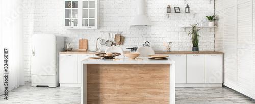 Εκτύπωση καμβά Modern stylish Scandinavian kitchen interior with kitchen accessories
