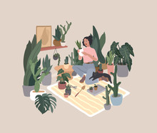 Girl Caring For House Plants I...