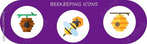 Modern Simple Set of beekeeping Vector flat Icons Wallpaper Mural