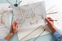 Interior Designer Drawing Penc...
