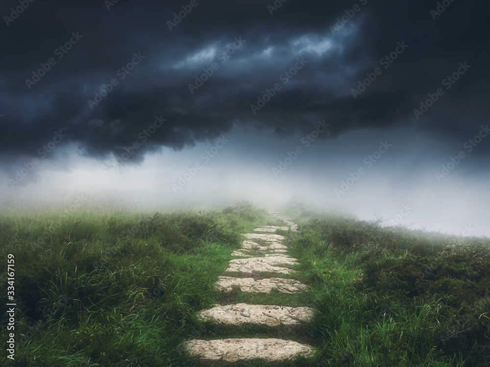 Fototapeta path to the storm with dramatic sky