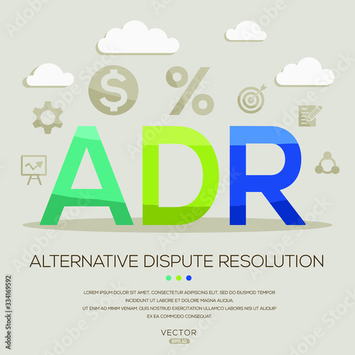 ADR mean (alternative dispute resolution) ,letters and icons,Vector illustration Canvas Print