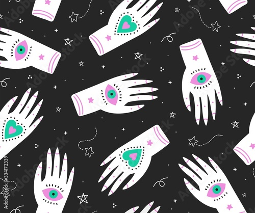 Cute seamless boho pattern with ornate ethnic hands,eyes and magic symbols n the night sky Canvas Print