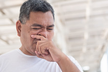 Allergic Sick Old Man Wiping H...