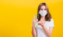Woman Wear Mask Protection Cle...