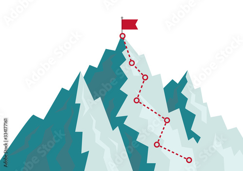 Mountain climbing route to goal Canvas Print