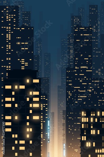Night city illustration with light windows - 334177300