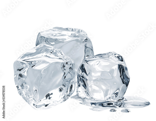Photo Melting ice cubes isolated on white background including clipping path