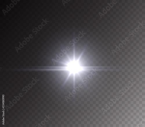 Obraz Camera flash light effect isolated on transparent background. White flashlignt, flare, projector rays or spotlight. Vector glow car headlight template.. - fototapety do salonu