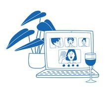 Video Call Friends, Wine Glass...
