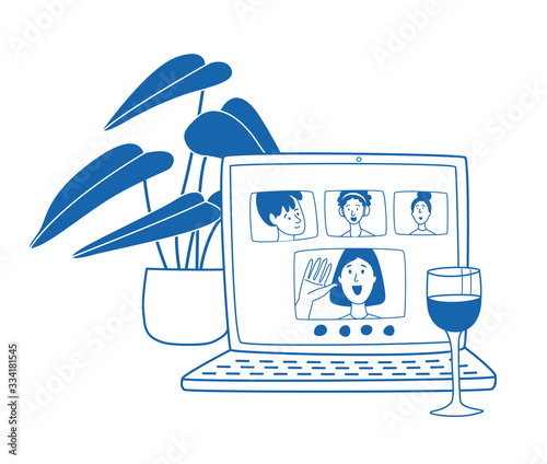 Fototapeta Video call friends, wine glass and plant next to laptop