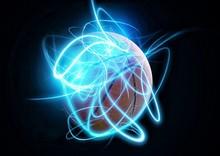 青い光線に包まれたバスケットボールのボール