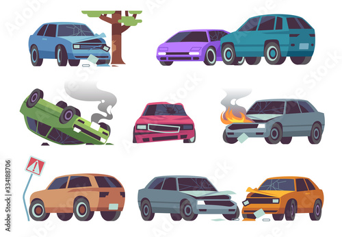 Fototapeta Car accident. Damaged vehicle on road, auto crash, cars collision. Traffic, transportation service insurance claim auto damage vector set obraz