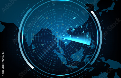 Photo abstract background of futuristic technology screen scan flight radar airplane r