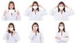 Leinwandbild Motiv Asian woman show how to wear hyhiene mask