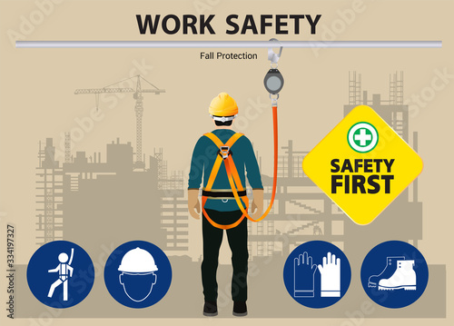 Fotografia, Obraz Fall Protection, Construction worker safety first, vector design