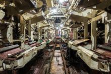 Interior Of Old Abandoned Russian Soviet Submarine