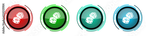 Foto Dice, casino round glossy vector icons, set of buttons for webdesign, internet a