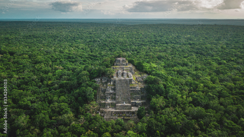 Fototapeta Aerial view of the pyramid, Calakmul, Campeche, Mexico. Ruins of the ancient Mayan city of Calakmul surrounded by the jungle