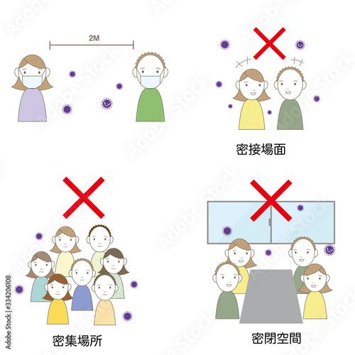 Fototapeta 感染予防 避けること 守ること