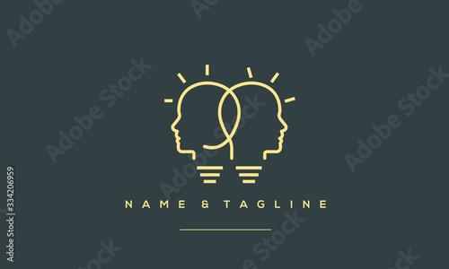 Fotografía A line art icon logo of a 2 light bulbs with heads