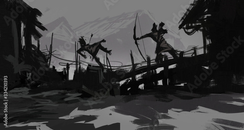Digital painting of a warrior being shot by a rangers bow during a village assau Canvas Print