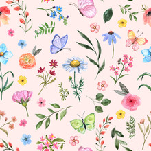 Watercolor Wildflower Seamless...