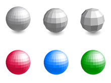 Faceted Spheres Isolated On Wh...