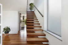 Apartment Entrance Hall With Wooden Staircase Access To Upper Floor, Design, Furniture, Home, Modern, Sea, Wooden