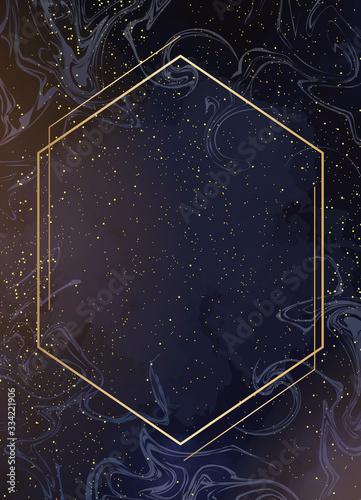Obraz na plátne Magic night dark blue card with sparkling glitter